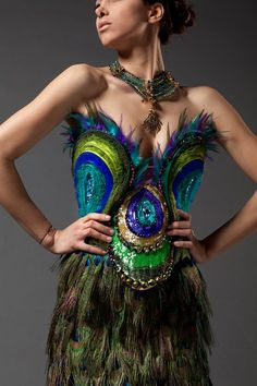 Peacock Feather Dress by Tunisian designer Haytham Bouhamed S✧s ReMix