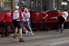 Russian hooligans vs Polish hooligans