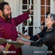 """The Walking Dead (@amcthewalkingdead) on Instagram: """"Melissa and Cooper, hard at work. #TWD"""" -- Cooper Andrews as Jerry and Melissa McBride as Carol Peletier in The Walking Dead S8 Ep06 """"The King,The Widow and Rick"""" - Behind-The-Scenes ...Tickle-Tickle"""