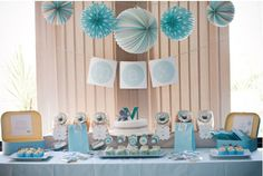 Baby boy shower I like this color scheme, not too much blue! @Katie Schmeltzer Hall