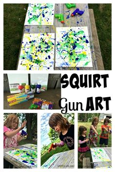 Squirt Gun Canvas Art - Fun Summer Activity for Kids #pmedia #pressnsealhacks #ad collage