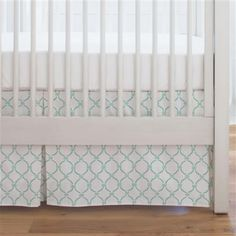 Silver Gray Lattice Circles Crib Skirt Single-Pleat made with care in the USA by Carousel Designs. Mint Nursery, Nursery Crib, Free Fabric Swatches, Carousel Designs, Crib Skirts, Crib Mattress, Repeating Patterns, Cribs, Diy Projects