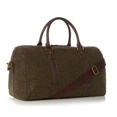 Dark green woollen herringbone holdall bag