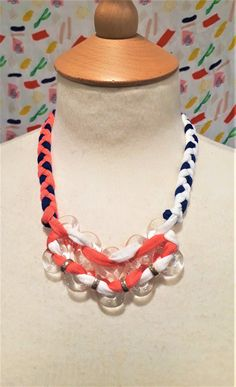 Braided textile yarn and glass figure of eight necklace by bdenglass on Etsy