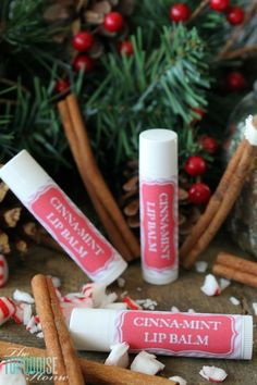 """This cinna-mint flavored lip-balm is so yummy!! Using just three simple ingredients and a couple of minutes of your time, you can have homemade, all-natural lip balms to give away as gifts or keep for yourself. LOVE these as stocking stuffers or a gift anytime """"just because."""" 