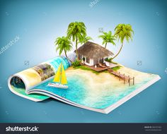 Tropical Island With Bungalow And Pier On A Page Of Opened Magazine. Unusual Travel Illustration - 300181562 : Shutterstock