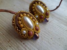 Handmade soutache clip on earrings Shades of brown by SoutacheShop