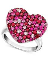 Balissima by EFFY Pink Sapphire (1-5/8 ct. t.w.) and Ruby (1-5/8 ct. t.w.) Heart Ring in Sterling Silver