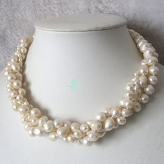 Pearl Necklace - 18 inches 4-10mm 4 Row White Freshwater Pearl Necklace - Free Shipping on Etsy, $27.00