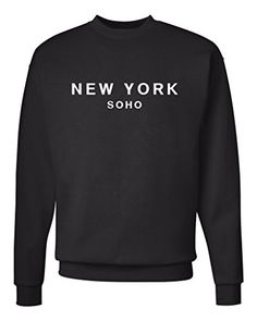 New York Soho Unisex Mens Womens Crewneck Sweatshirt Jumper Pullover Black M * Read more reviews of the product by visiting the link on the image.