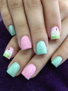 Pretty Pastel Velvet Nails