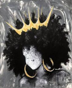 Naturally Queen Art Print by michaelmiagan - X-Small Black Art Painting, Black Artwork, Afro Painting, African American Art, African Art, African Abstract Art, African American Tattoos, Black Girl Art, Art Girl