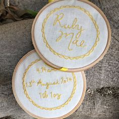 Hand Embroidery Hoop Art Birth Announcement Set of 2 by LolaAndMae
