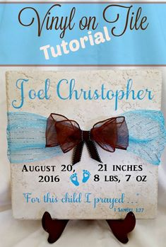 Beautiful and Easy Cricut Gift Ideas! - Leap of Faith Crafting DIY vinyl projects that are perfect as unique gifts or for the home. Learn how to put vinyl cut with a Cricut on a tile for a beginner. Diy Vinyl Projects, Tile Projects, Vinyl Crafts, Circuit Projects, Faith Crafts, 1 Samuel 1 27, Cricut Tutorials, Cricut Ideas, Vinyl Tiles