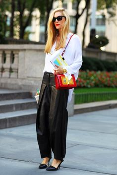 baggy leather pants street style