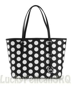 0d129fa89a Michael Kors Dot Black White Saffiano Jet Set Small Travel Tote Bag Handbag  NWT Michael Kors