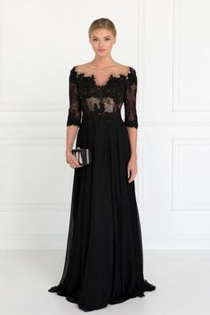 a109579be26 3 4 sleeves Red Carpet Mother of the Bride Groom Chiffon A-Line Gown