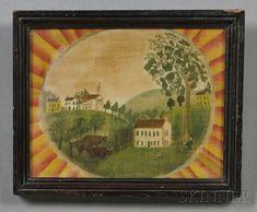 Watercolor on velvet, American School 19th c.