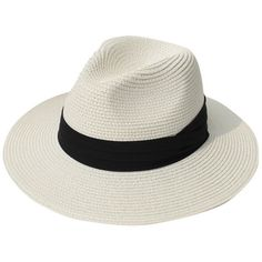 Female Beige Floppy Grosgrain Trim Beach Straw Panama Hat (38 PLN) ❤ liked on Polyvore featuring accessories, hats, floppy panama hat, floppy straw hat, flop hat, beach hat and panama hat