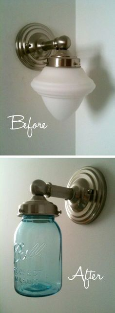 20 Of The Best Mason Jar Projects | Turn an outdated light into a charming one! Genius!