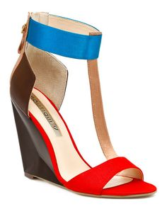 Boutique 9 'Linya' Leather Wedge Sandal - chocolate brown and tan leather with red fabric and teal accents