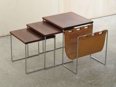 Rosewood Nesting Tables with Leather Magazine Rack 2