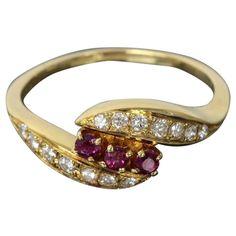 MIKIMOTO 18K Yellow Gold 0.13ct Diamond & 0.17ct Ruby Ring US SIZE 6.75 W/Box