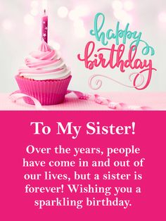 Send Free Sparkling Day - Happy Birthday Card for Sister to Loved Ones on Birthday & Greeting Cards by Davia. It's free, and you also can use your own customized birthday calendar and birthday reminders. Happy Birthday Didi, Happy Birthday Little Sister, Birthday Greetings For Sister, Happy Birthday Wishes For Her, Birthday Poems, Happy Birthday Wishes Quotes, Sister Birthday Quotes, Funny Birthday Cards, Birthday Greeting Cards