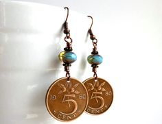 Dutch earrings Coin jewelry Coin earrings Sky blue by CoinStories