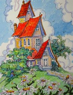 """Daily Paintworks - """"Daisy Digs Storybook Cottage Series"""" - Original Fine Art for Sale - © Alida Akers"""