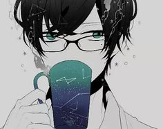 anime boy with glasses monochrome