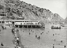 "Catalina Island, California, circa 1910. ""Avalon Bay Aquarium wharf and beach."""