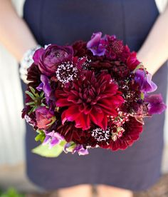 love this! with subtle pops of dark purple and gray - paired with neutral dresses!  -- dahlias, ranunculus
