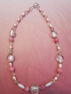 Pink Cat's Eye/Crystal/Pearl Glass Bead by BeadazzlingButterfly