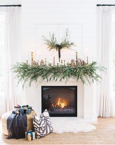 Monika Hibbs (@monikahibbs) • Instagram photos and videos Christmas Fireplace, Christmas Mantels, Fireplace Mantle, Christmas Decorations, Christmas Garlands, Fireplace Garland, White Fireplace, Christmas Villages, Handmade Decorations
