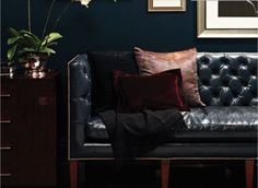 Things We Love: Chesterfield Sofas - Design Chic - love the blue leather - perfect in an office