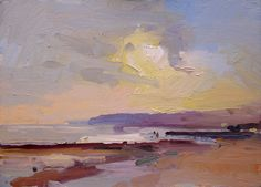 David Atkins: Setting Sun II, Charmouth, Dorset Campden Gallery, fine art, Chipping Campden, camden gallery, contemporary, contemporary arts, contemporary art, artists, painting, sculpture, abstract painting, gloucestershire,  cotswolds, painting for sale, artwork for sale, modern art gallery, art exhibitions,arts gallery, gallery art, art gallery UK