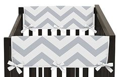 Set of 2 White and Navy Modern Hotel Teething Protector Cover Wrap Baby Unisex Boy or Girl Crib Side Rail Guards