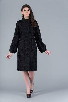 Купить шубы из каракуля в Москве: шуба каракуль, мех - Каракульча, модель - KL-16074 Vintage Coat, Fur Fashion, Fur Coat, Tights, Cold Shoulder Dress, High Neck Dress, Coats, Dresses, Style