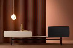 Online kaufen Yee - composition d By modulares lackiertes sideboard Design Metrica Sideboard Design, Metal Shelves, Nordic Style, Terrazzo, Contemporary Furniture, Scandinavian Design, Storage Spaces, Storage Units, Furniture Design