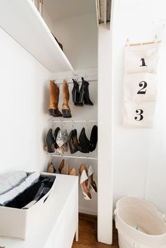 "If like Carrie Bradshaw of ""Sex and the City"" you live for fashion and love shoes, then storage most certainly … Shoe Storage Hacks, Hanging Shoe Storage, Shoe Storage Solutions, Hanging Shoes, Door Storage, Closet Storage, Storage Ideas, Corner Storage, Storage Spaces"