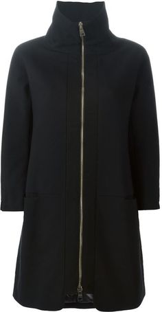 $914, Black Coat: Herno High Collar Padded Coat. Sold by farfetch.com. Click for more info: https://lookastic.com/women/shop_items/297498/redirect