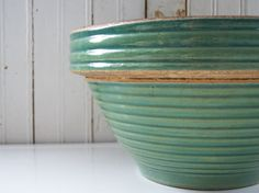 Antique Green Yellowware Farmhouse Bowl  Reserved by HogsAndHominy