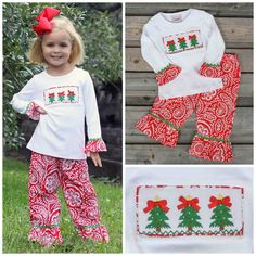 Knit Smocked Christmas Tree Pant Set Red Damask Brand  Smocked Auctions.  Smocking bc0b92d43723