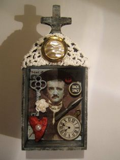 Edgar Allan Poe mixed media assemblage by jenuineserendipity, $57.00