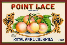 Point Lace Royal Anne Cherries Canning Label 1920. Quilt Block printed on cotton. Ready to sew.  Single 4x6 block $4.95. Set of 4 blocks with pattern $17.95.