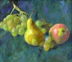 SOVIET RUSSIAN IMPRESSIONIST OIL, STILL LIFE W FRUIT AND GRAPES, SIGNED VERSO #Impressionism