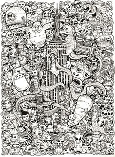 Amazing World Doodle Art Illustrations Of Kerby Rosanes: This is really cool! Doodle Art Amazing Art Cool Doodle Illustrations Kerby Rosanes world Doodle Art Letters, Doodle Art Journals, Doodle Books, Cool Doodles, Simple Doodles, Doodle Art Designs, Doodle Coloring, Book Images, Doodle Drawings