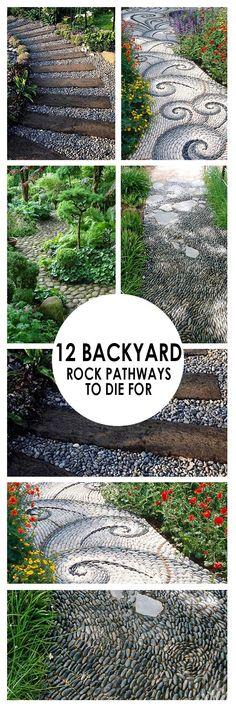 Backyard pathways, DIY garden pathways, DIY gardening, landscaping and yard inspiration, popular pin, backyard pathway ideas. #GardenLandscaping Rock Pathway, Pathway Ideas, Outdoor Projects, Garden Projects, Diy Gardening, Vegetable Gardening, Backyard Landscaping, Backyard Ideas, Backyard Layout