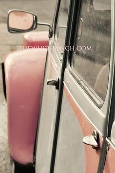 Vintage pink car.